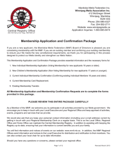 Membership Application and Confirmation Package