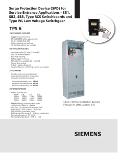 Surge Protection Device (SPD) for Service Entrance Applications