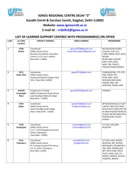 Study Centres - IGNOU Delhi