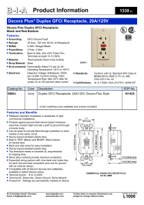 Decora Plus Duplex GFCI Receptacle, 20A/125V, 6899 Series