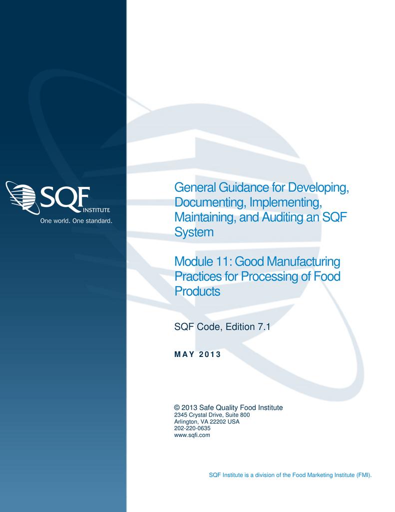 SQF Code, Ed  7 1 Module 11 Guidance Document