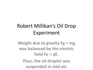 Robert Millikan`s Oil Drop Experiment