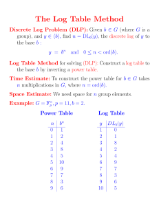 The Log Table Method