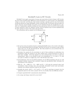 Kirchhoff`s Laws in DC Circuits