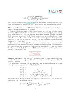 Binomial coefficients Math 217 Probability and Statistics