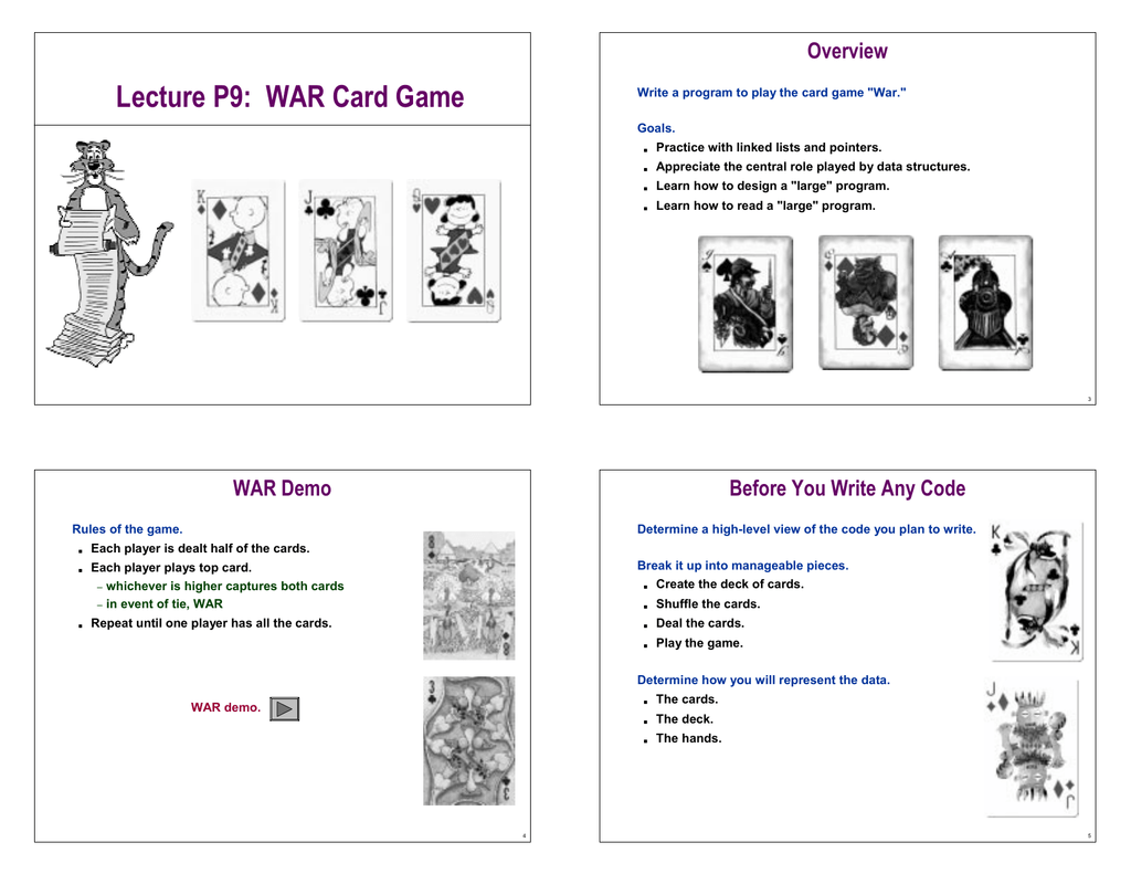 Lecture P9 War Card Game