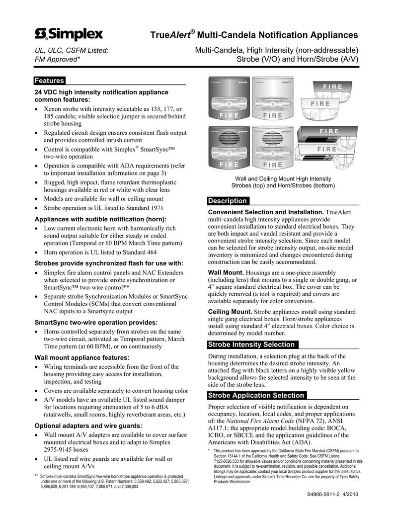 018118775_1 4c0cdab7c8423c227f85d0204f967c72 truealert multi candela notification appliances simplex horn strobe wiring diagram at mifinder.co
