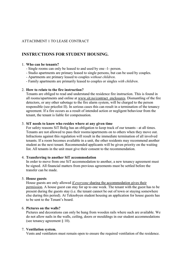 Instructions For Student Housing