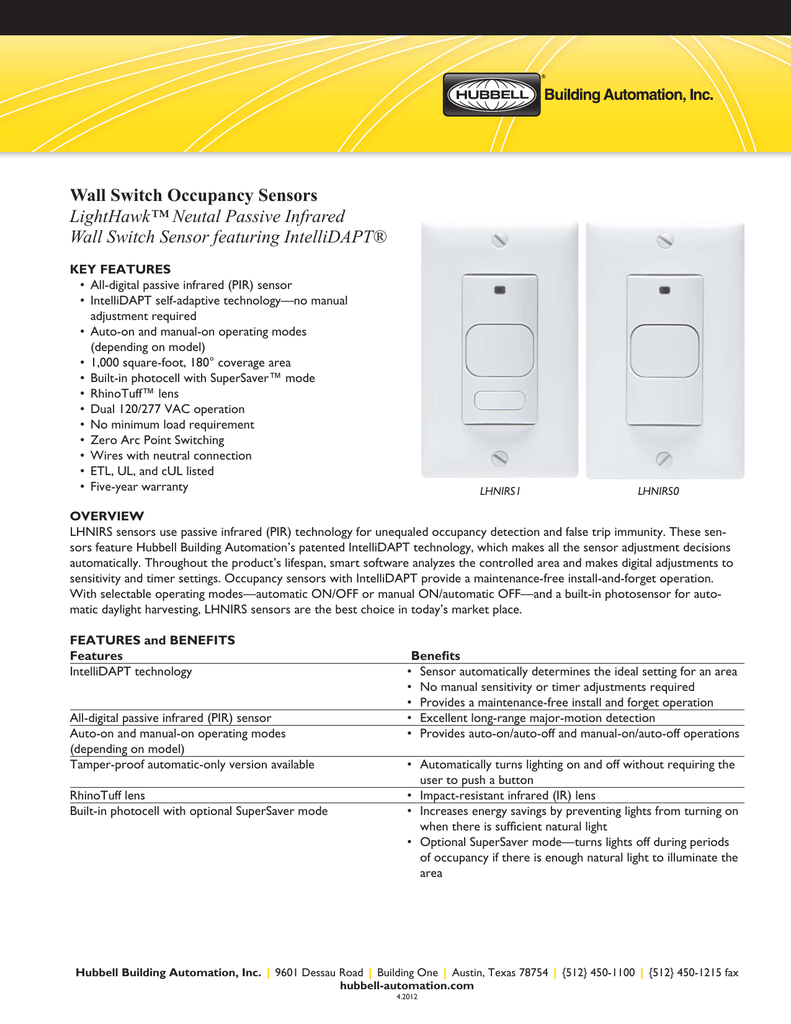 Lighthawk Pir Cutsheet Hubbell Control Solutions Photocell And Timer Wiring