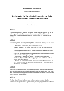 Regulation for the Use of Radio Frequencies and Radio