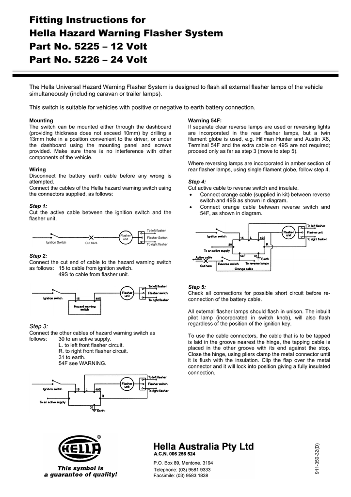 hella flasher wiring diagram fitting instructions for hella hazard warning flasher system part no  hella hazard warning flasher