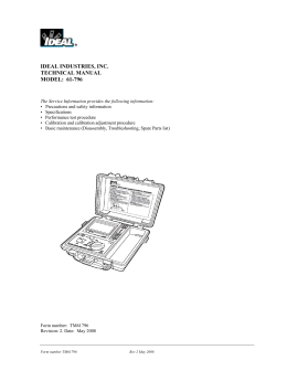 IDEAL INDUSTRIES, INC. TECHNICAL MANUAL MODEL: 61-796