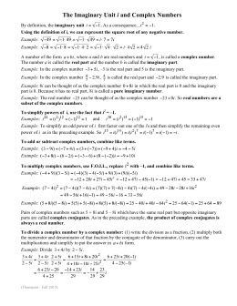 The Imaginary Unit i and Complex Numbers