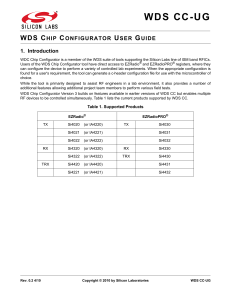 WDS Chip Configurator User Guide -- WDS CC-UG