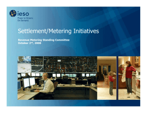 Settlement/Metering Initiatives