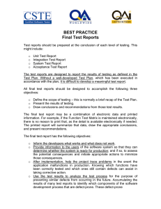 BEST PRACTICE Final Test Reports