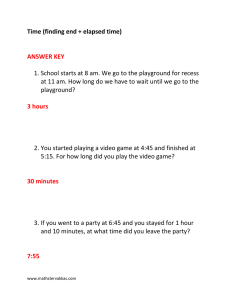 Time (finding end + elapsed time) ANSWER KEY