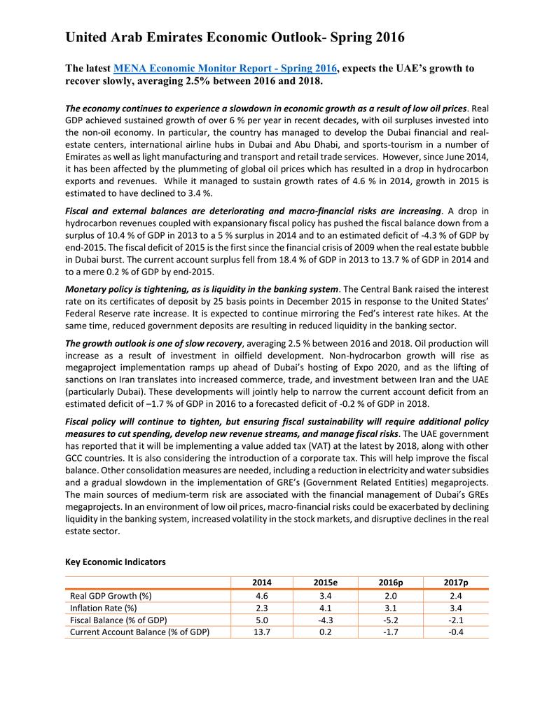 United Arab Emirates Economic Outlook