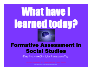what have i learned today?: formative assessment in social studies