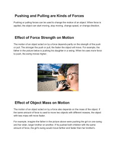Pushing and Pulling are Kinds of Forces Effect of Force Strength on