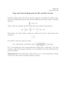 Step and Natural Responses for RC and RL Circuits