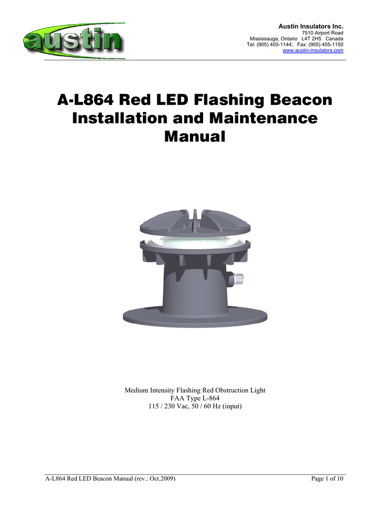 A-L864 Red LED Flashing Beacon Installation and Maintenance