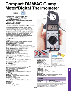 Compact DMM/AC Clamp Meter/Digital Thermometer