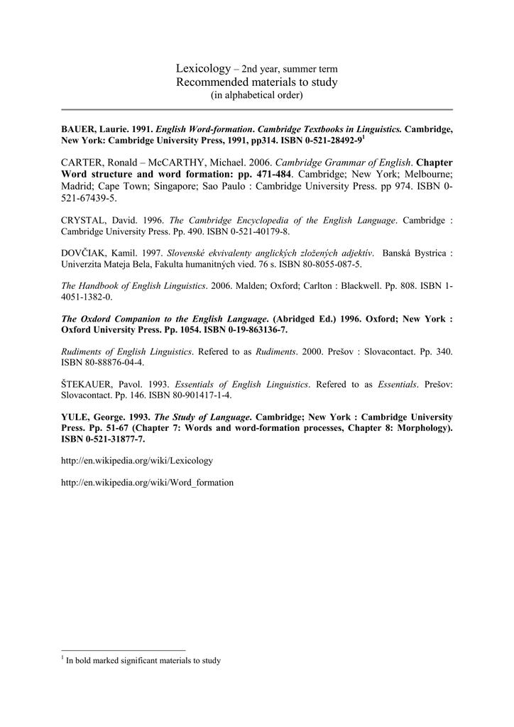 recomanded materials to study - Filozofická fakulta Univerzita