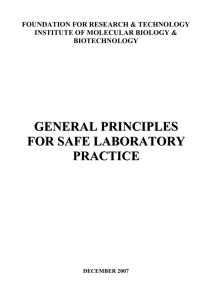 general principles for safe laboratory practice - IMBB