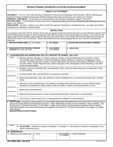 DD Form 2983, Recruit/Trainee Prohibited Activities