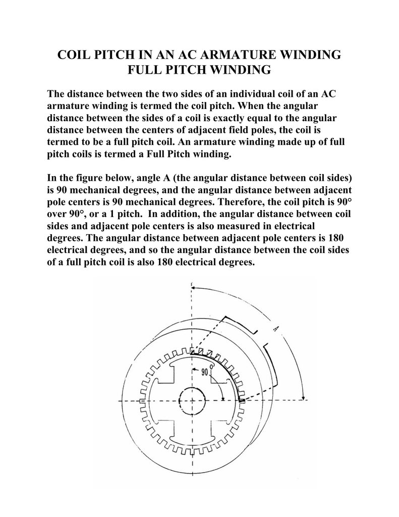 coil pitch in an ac armature winding full pitch winding the distance  between the two sides of an individual coil of an ac armature winding is  termed the