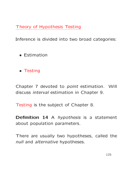 Theory of Hypothesis Testing Inference is divided into two broad