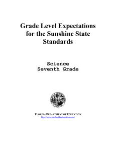 Grade Level Expectations for the Sunshine State Standards Science