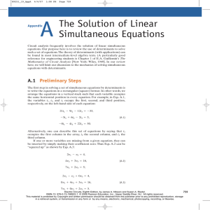 The Solution of Linear Simultaneous Equations