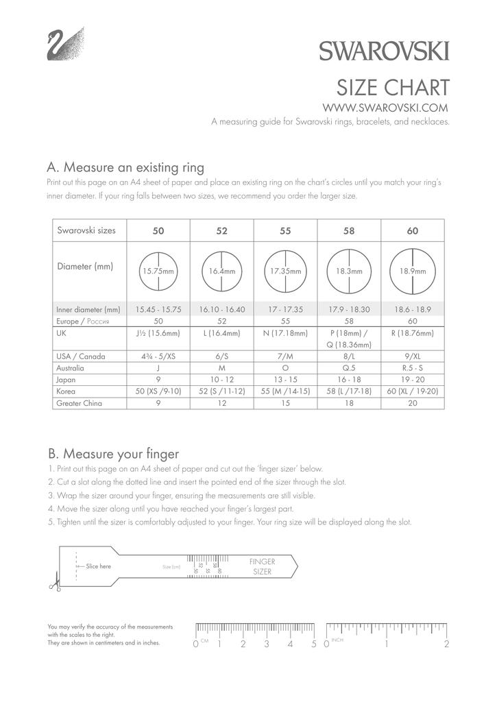 Size Chart Swarovski