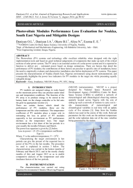 Photovoltaic Modules Performance Loss Evaluation for Nsukka