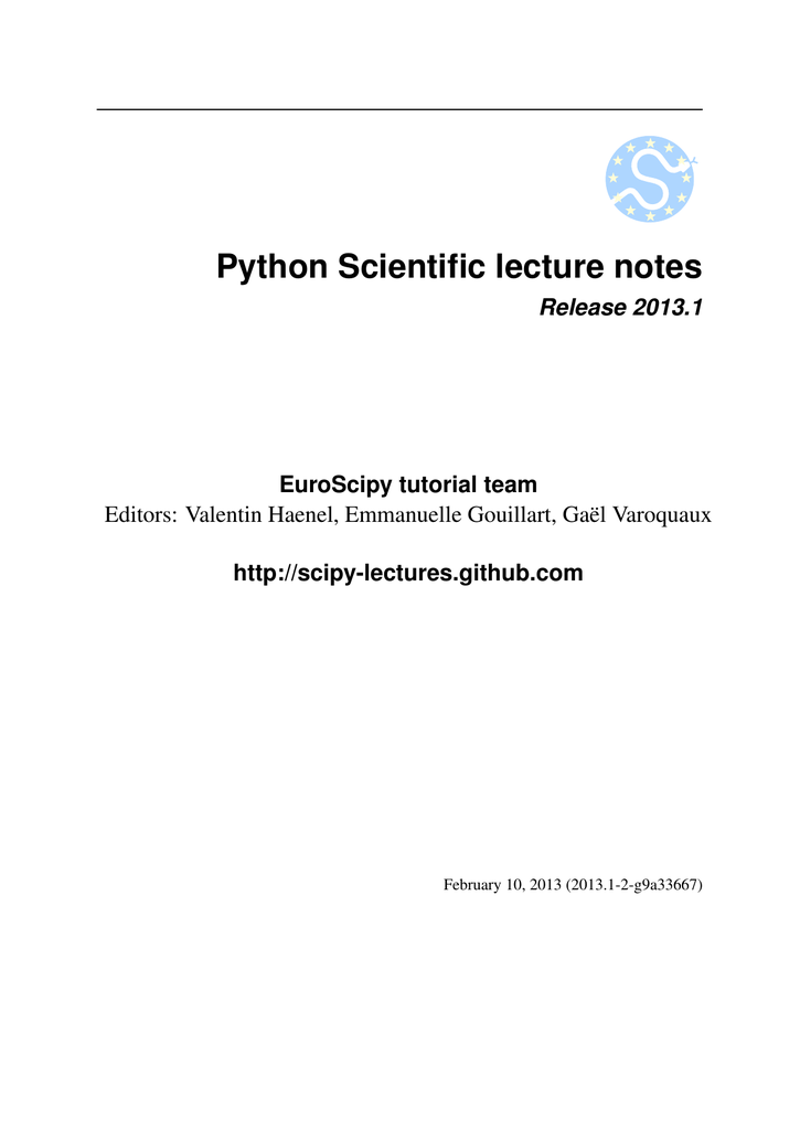 Python Scientific lecture notes