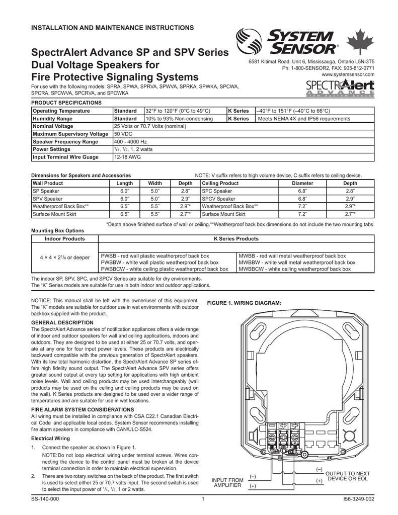 Installation Instructions Wiring Metal Back Box