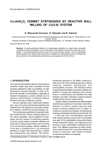 Cu-Al/Al O CERMET SYNTHESIZED BY REACTIVE BALL MILLING