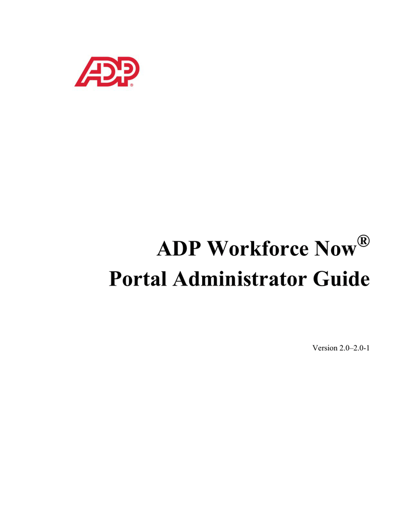 ADP Workforce Now Portal Administrator Guide