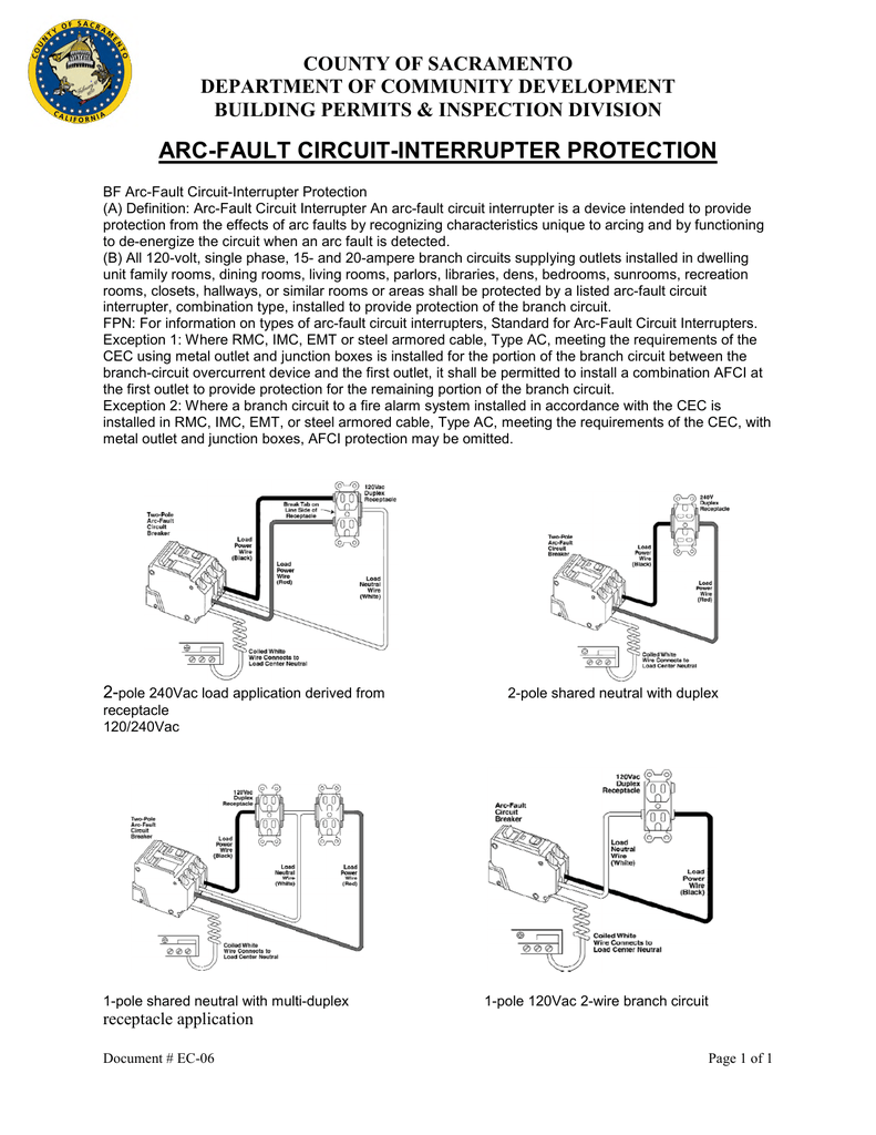 Arc Fault Circuit Interrupter Protection Multi Wire Branch Circuits