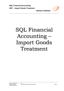 SQL Financial Accounting – Import Goods Treatment