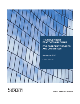 the sidley best practices calendar for corporate