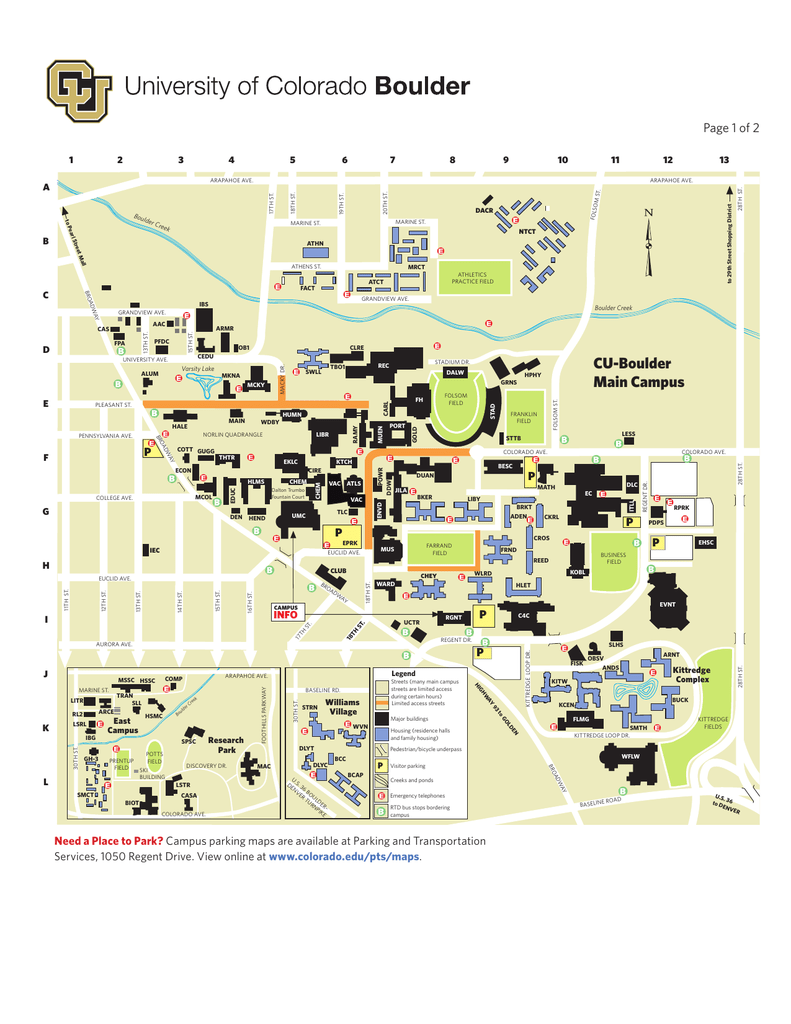 CU-Bouder Campus Map 2013 - University of Colorado Boulder