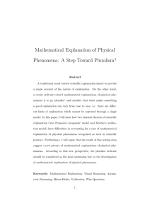 Mathematical Explanation of Physical Phenomena: A Step