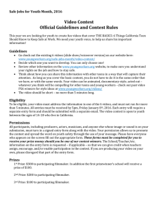 Video Contest Official Guidelines and Contest Rules