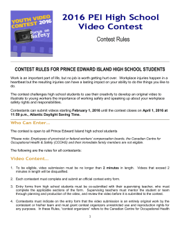 2016 Youth Video Contest Rules