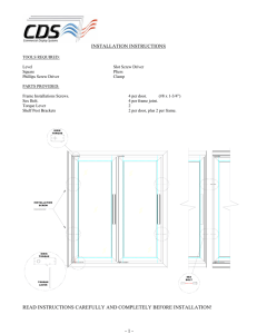 INSTALLATION INSTRUCTIONS - Commercial Display Systems