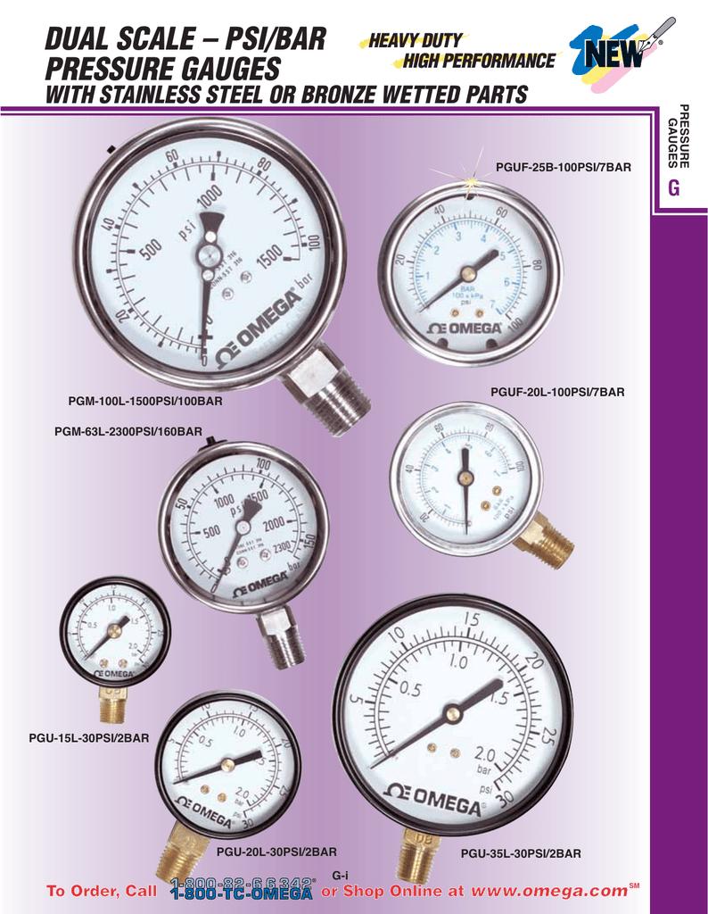 dual scale – psi/bar pressure gauges