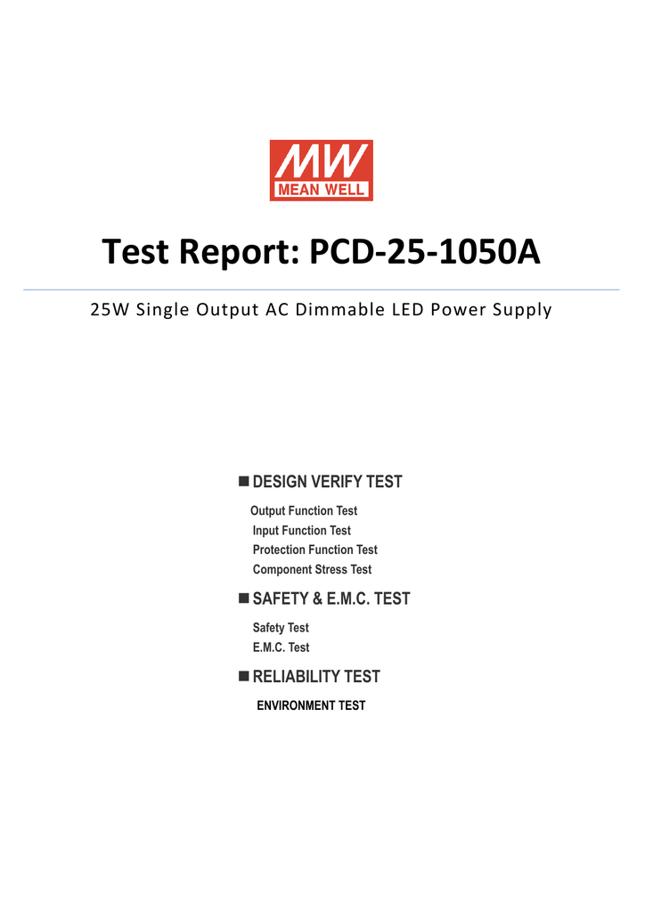Test Report: PCD-25-1050A